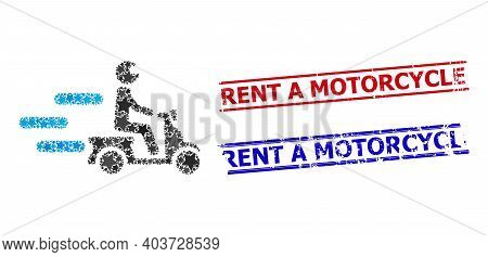Fast Motorbike Star Mosaic And Grunge Rent A Motorcycle Seal Stamps. Red And Blue Seals With Grunge