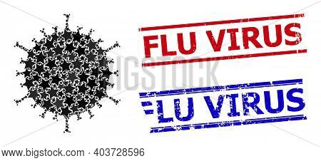 Flu Virus Star Mosaic And Grunge Flu Virus Stamps. Red And Blue Stamps With Grunge Surface And Flu V