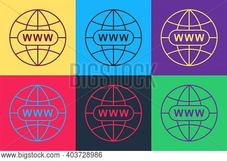 Pop Art Go To Web Icon Isolated On Color Background. Www Icon. Website Pictogram. World Wide Web Sym