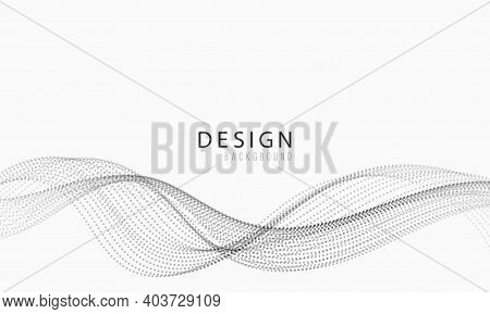 Abstract Gray Wave Background, Digital Flowing Particles .cyber Or Technology Background.vector Illu