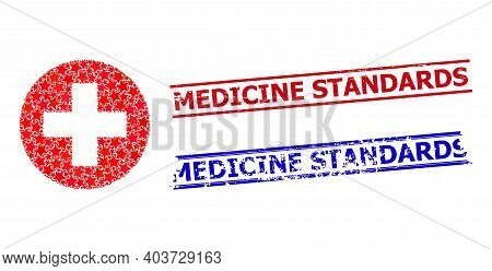 Medical Aid Star Pattern And Grunge Medicine Standards Stamps. Red And Blue Stamps With Unclean Surf