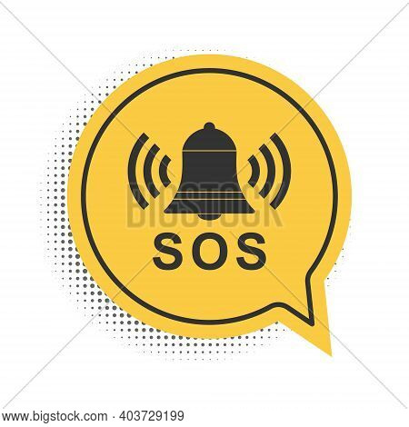 Black Alarm Bell And Sos Lettering Icon Isolated On White Background. Warning Bell, Help Sign. Emerg
