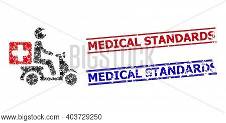 Medical Motorbike Star Mosaic And Grunge Medical Standards Stamps. Red And Blue Stamps With Corroded