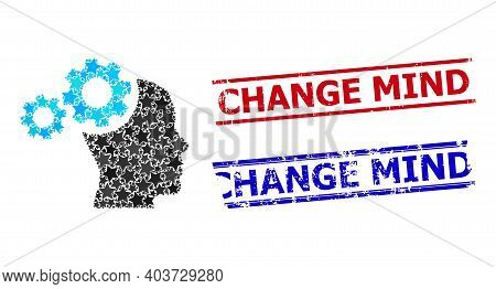 Mind Gears Star Pattern And Grunge Change Mind Seals. Red And Blue Seals With Rubber Style And Chang