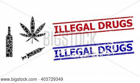 Narcotic Drugs Star Pattern And Grunge Illegal Drugs Stamps. Red And Blue Stamps With Corroded Surfa