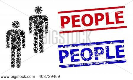 People Star Pattern And Grunge People Stamps. Red And Blue Stamps With Grunge Texture And People Slo