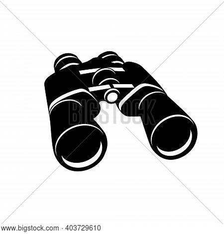 Binoculars Isolated On A White Background. Silhouette Of Black Binoculars. Vector Illustration In Fl