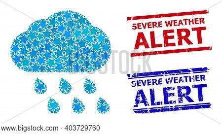 Rain Cloud Star Mosaic And Grunge Severe Weather Alert Stamps. Red And Blue Stamps With Grunge Textu