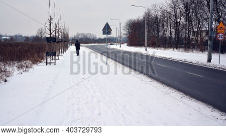 Warsaw, Poland. 17 January 2021. Residential Neighborhood In The Suburbs During A White Snow Storm A