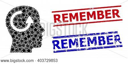 Remember Star Pattern And Grunge Remember Seals. Red And Blue Seals With Distress Surface And Rememb