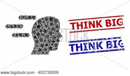 Rush Mind Star Pattern And Grunge Think Big Seal Stamps. Red And Blue Stamps With Grunge Texture And