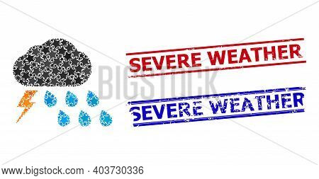 Thunderstorm Weather Star Pattern And Grunge Severe Weather Stamps. Red And Blue Stamps With Scratch
