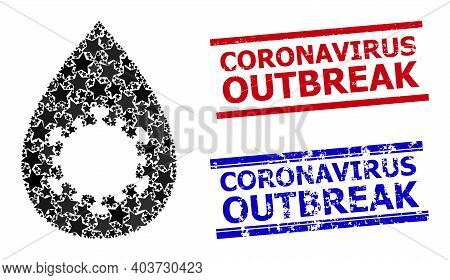 Virus Drop Star Pattern And Grunge Coronavirus Outbreak Stamps. Red And Blue Stamps With Unclean Sty