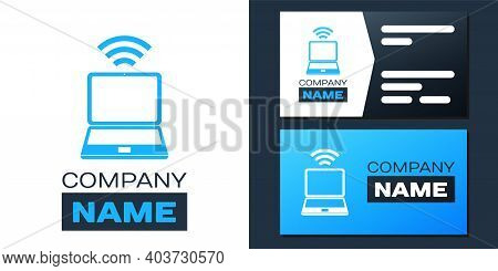 Logotype Laptop And Free Wi-fi Wireless Connection Icon Isolated On White Background. Wireless Techn