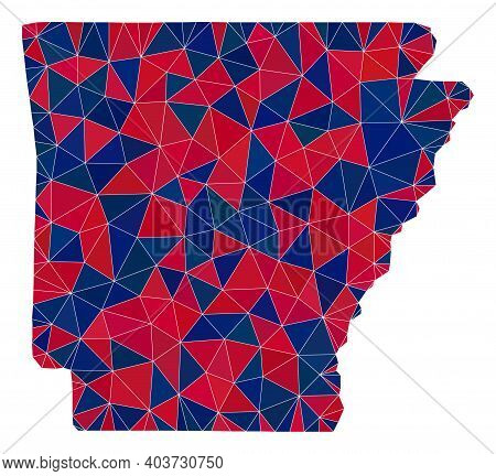 Vector Triangle Mosaic Map Of Arkansas State In American Flag Colors, Blue And Red. Geographic Plan