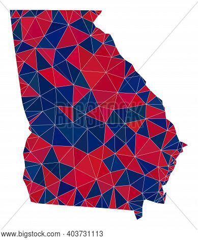 Vector Triangle Mosaic Map Of Georgia State In American Flag Colors, Blue And Red. Geographic Scheme