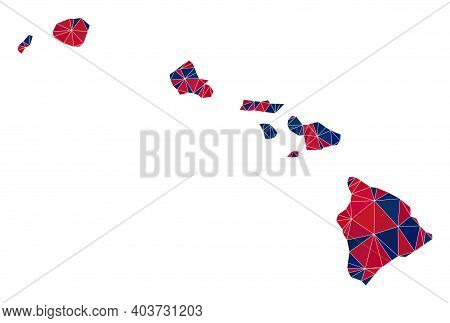 Vector Triangle Mosaic Map Of Hawaii State In American Flag Colors, Blue And Red. Geographic Collage