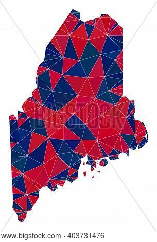 Vector Triangle Mosaic Map Of Maine State In American Flag Colors, Blue And Red. Geographic Collage