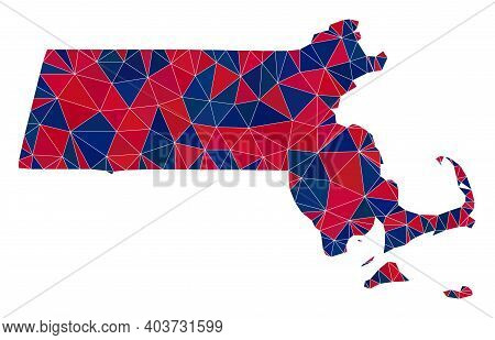 Vector Triangle Mosaic Map Of Massachusetts State In American Flag Colors, Blue And Red. Geographic