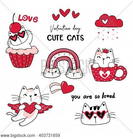 Cute Cat Red Valentine Day Cartoon Vector Collection, Valentine Clipart Set, Doodle Cat Drawing In R
