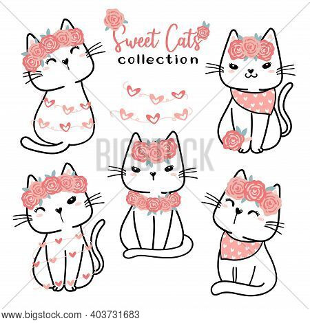 Cute Valentine Cat Collection, Cartoon Doodle Flat Vector Clipart For Valentine Love Day, Sweet Whit