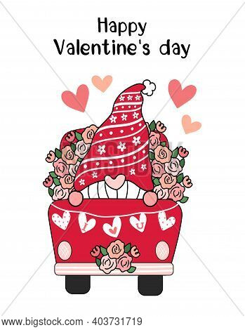 Valentine Gnome In Red Flower Truck With Heart I Love You Flag, Cute Cartoon Flat Vector Clip Art Id