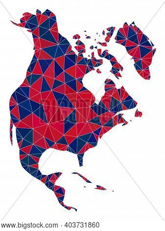 Vector Triangle Mosaic Map Of North America In American Flag Colors, Blue And Red. Geographic Collag