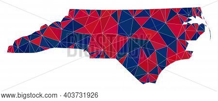 Vector Triangle Mosaic Map Of North Carolina State In American Flag Colors, Blue And Red. Geographic