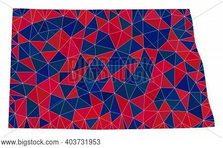 Vector Triangle Mosaic Map Of North Dakota State In American Flag Colors, Blue And Red. Geographic C