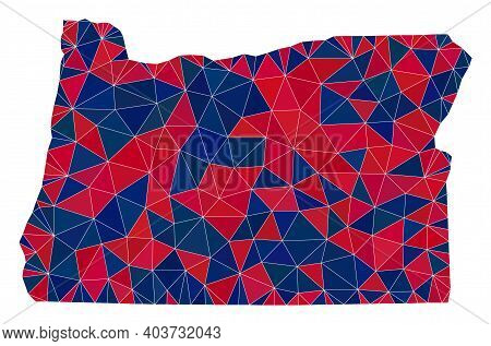 Vector Triangle Mosaic Map Of Oregon State In American Flag Colors, Blue And Red. Geographic Scheme