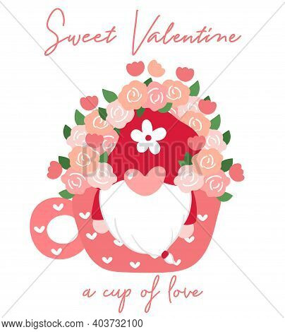 Cute Valentine Gnome In Coffee Cup With Flower, Sweet Valentine Clip Art, Cartoon Flat Vector For T