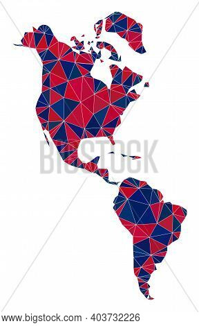 Vector Triangle Mosaic Map Of South And North America In American Flag Colors, Blue And Red. Geograp