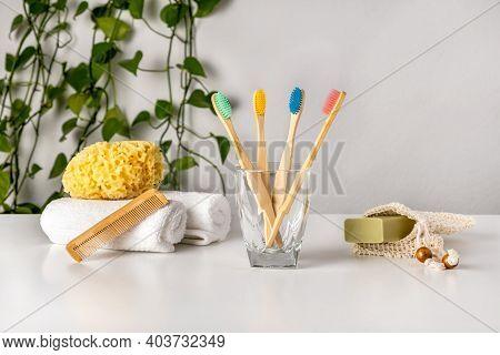 Eco-friendly Bathroom Accessories: Bamboo Toothbrush, Natural Sea Sponge, Soap In Organic Saver Bag