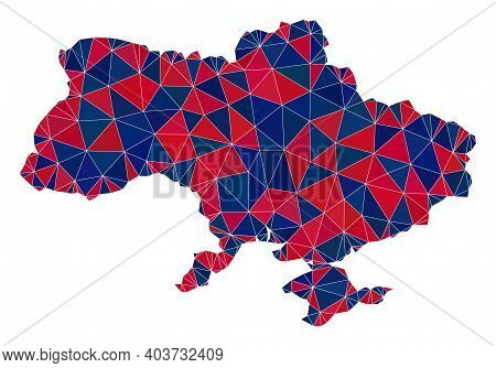 Vector Triangle Mosaic Map Of Ukraine In American Flag Colors, Blue And Red. Geographic Collage In B