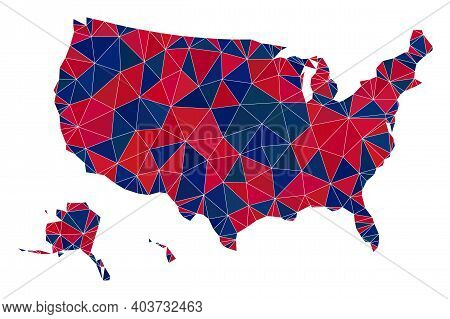 Vector Triangle Mosaic Map Of Usa Territories In American Flag Colors, Blue And Red. Geographic Plan