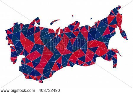 Vector Triangle Mosaic Map Of Ussr In American Flag Colors, Blue And Red. Geographic Plan In Blue An
