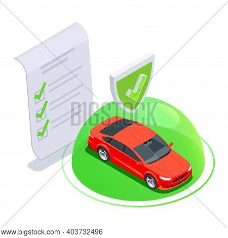 Car Ownership Usage Isometric Composition With Bubble And Protected Car Icon With Sign Of Paper Agre