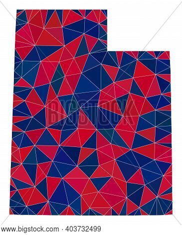 Vector Triangle Mosaic Map Of Utah State In American Flag Colors, Blue And Red. Geographic Scheme In