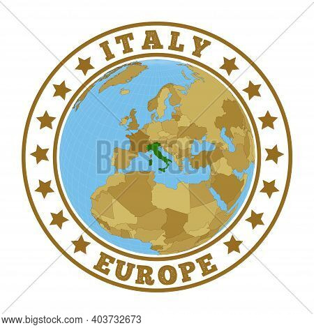 Italy Logo. Round Badge Of Country With Map Of Italy In World Context. Country Sticker Stamp With Gl
