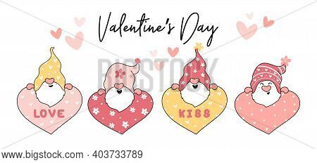 Cute Valentine Pink Gnome With Heart, Love, Kiss Collection, Cartoon Outline Vector