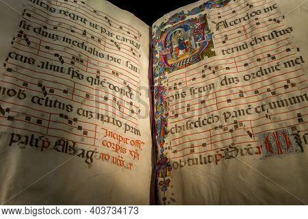 Dublin, Ireland - Feb 20th, 2020: Illuminated Liturgical Choir Book, 13th Century. Northern Italy. C