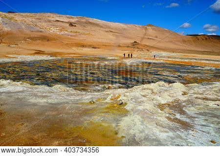The View Of Colorful Ground At Namafjall Hverir Geothermal Area Near Lake Myvatn, Iceland