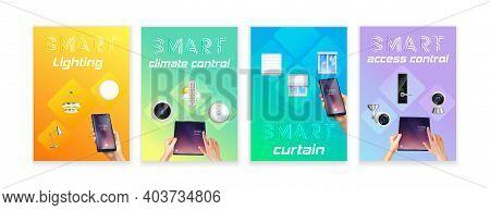 Smart Home Climate Lighting Security Camera Door Lock Doorbell Remote Control 4 Realistic Banners Se