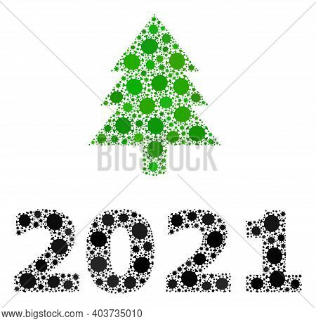 Vector 2021 Fir Tree Covid-2019 Mosaic Icon Constructed For Medicare Illustrations. 2021 Fir Tree Mo