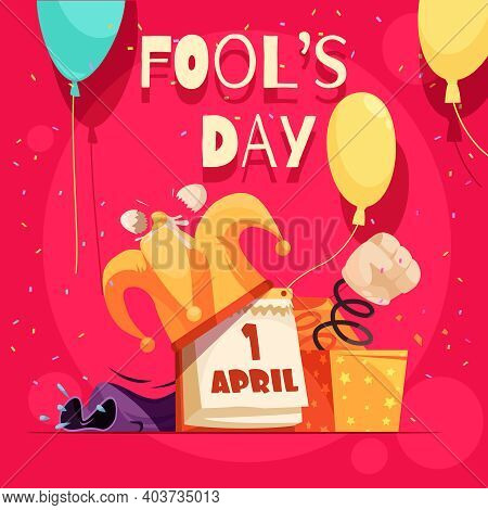 All Fools Day Composition With Editable Text And Doodle Images Of Calendar Joker Hat And Text Vector