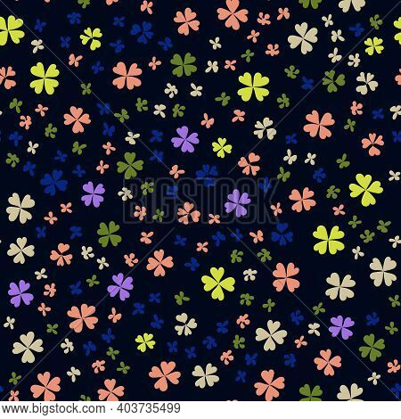 Childrens Pattern Flowers. Seamless Floral Pattern On A Blue Background. Multicolored Clover Leaves