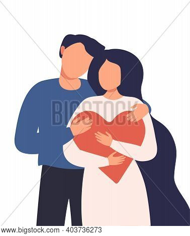 Valentines Day Relationships Between People. A Man Hugs A Woman Who Is Holding A Large Red Heart. Ve