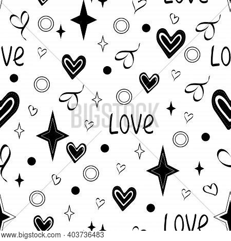 Black And White Pattern With Hearts, Background With Stars. Vector Illustrationseamless Stylish Tren