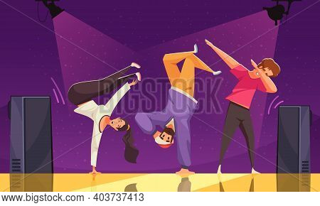 International Dance Day Colored Background With Three Teens Dancing Breakdance On Scene Flat Vector