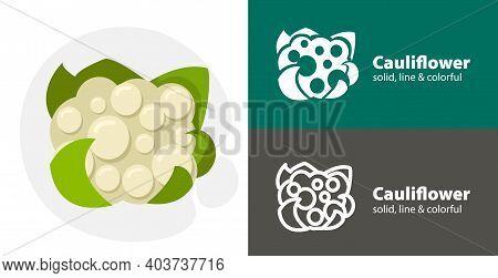 Cauliflower Flat Icon, With Cauliflower Simple, Line Icon